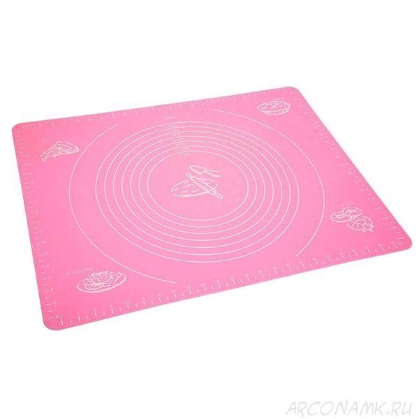 Силиконовый коврик для раскатывания теста, 70х50 см.,Цвет: Розовый