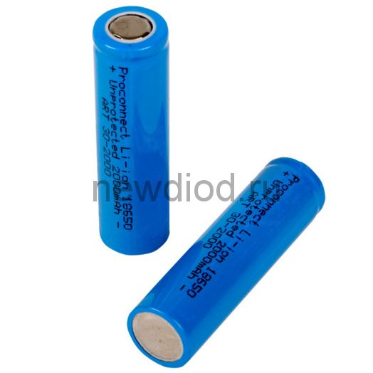 Аккумулятор 18650 unprotected Li-ion 2000 mAH 3.7 В PROconnect