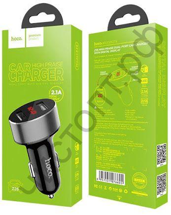 АЗУ HOCO Z26 High Praise с 2 USB выходами 2400mA, пластик, дисплей, цвет: чёрный
