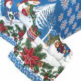 Новогодняя скатерть СНЕГОВИКИ 110х140 голубая
