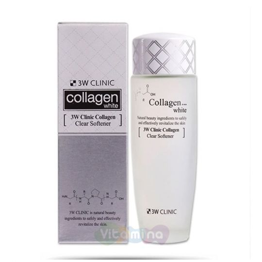 3W CLINIC Осветляющий софтнер для лица с коллагеном Collagen White Clear Softener , 150 мл