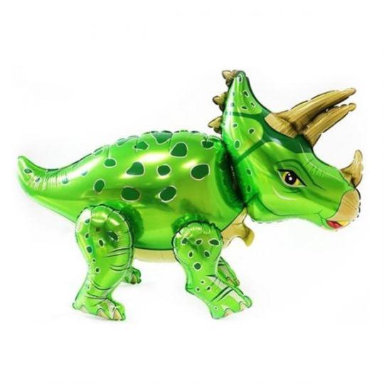 Динозавр Трицератопс зеленый ходячий шар фольгированный