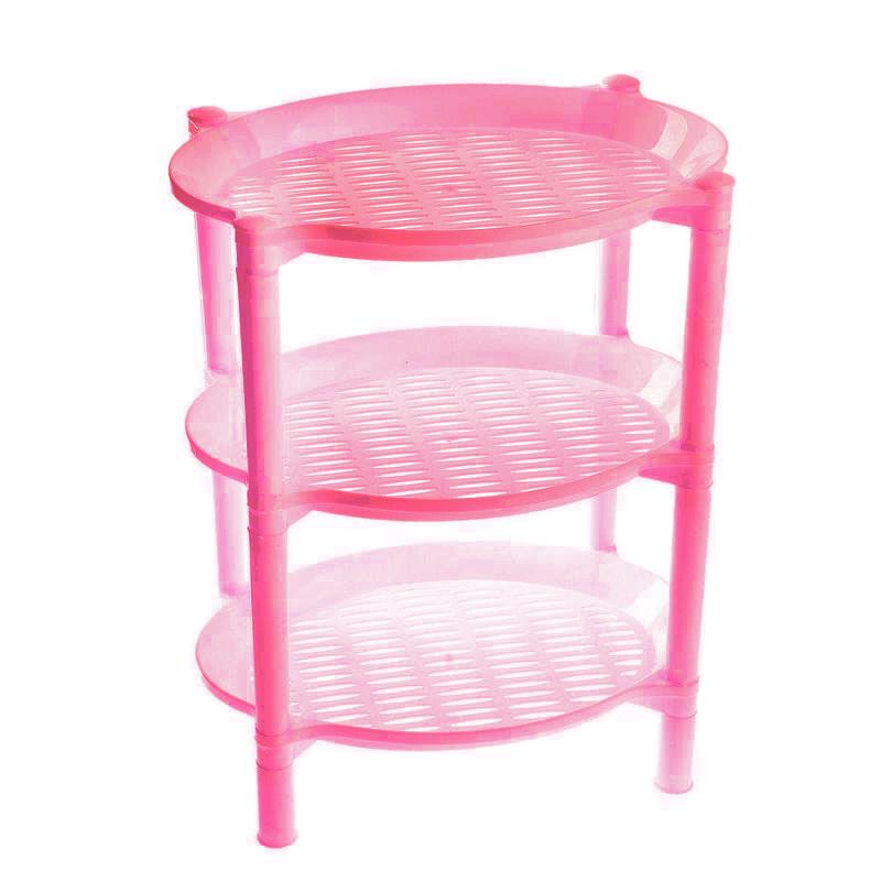 Этажерка 3х-ярусная Овальная, Цвет Розовый