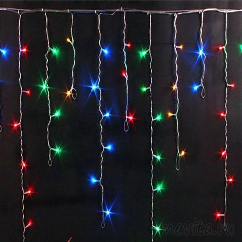 Гирлянда Бахрома, 400 LED, 7*0.7 м. Цвет Разноцветный