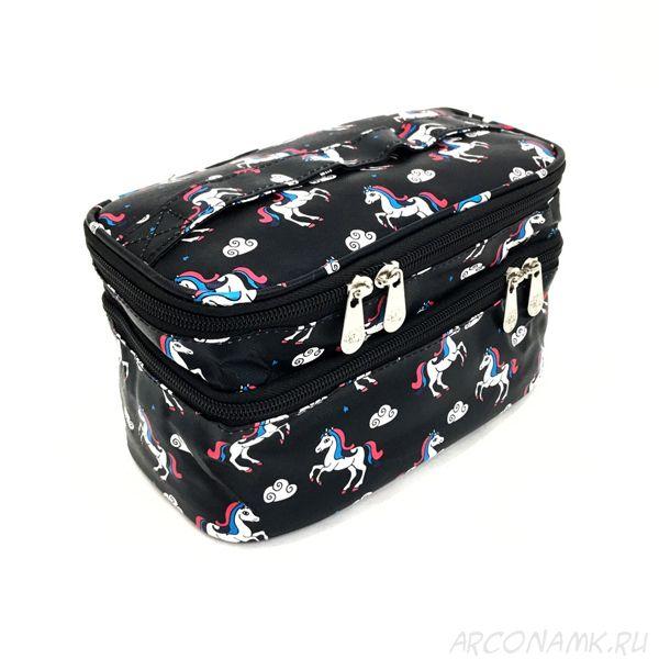Органайзер-косметичка для путешествий Travel Cosmetic Bag, Чёрный/Единорог