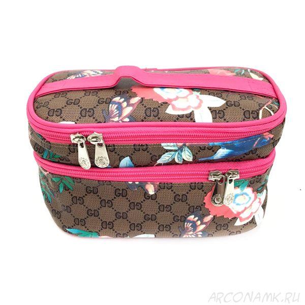 Органайзер-косметичка для путешествий Travel Cosmetic Bag, Коричневый/Колибри