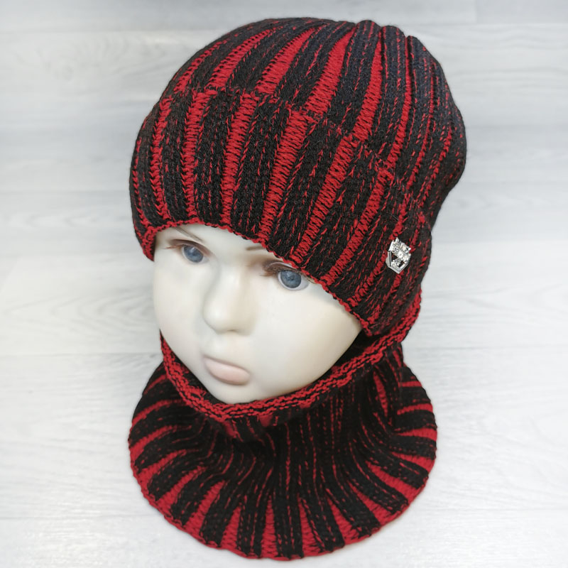 зм1125-23 Комплект вязаный шапка/снуд широкая резинка Baltex красный