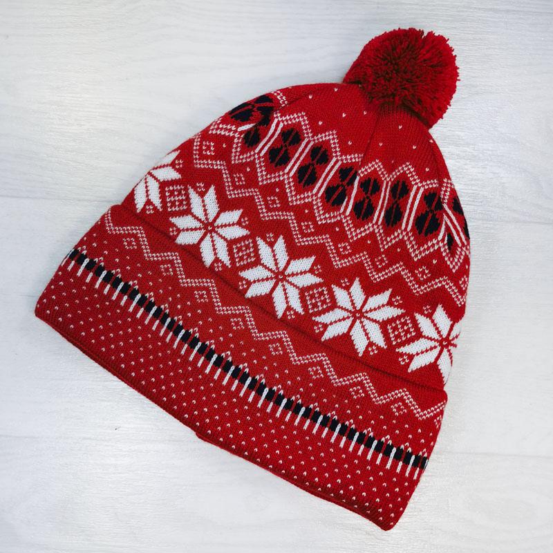 зм1127-23 Шапка с отворотом жаккардовой вязки Зима красная