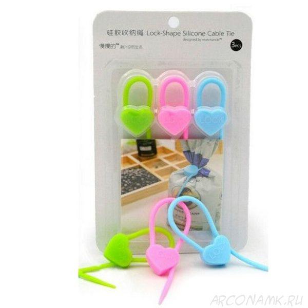 Силиконовый хомут Lock-Shape Silicone Cable Tie , 3 шт., Форма: Сердечко
