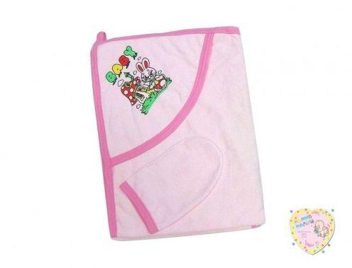 Купальное полотенце с уголком + варежка (махра розовый)