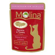 Molina Влажный корм для кошек Лосось и тунец в соусе, 100г