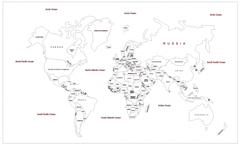 Карта мира с морением и гравировкой