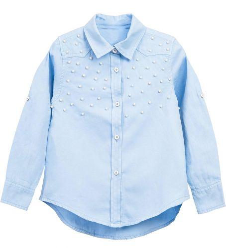Блузка для девочки Bonito kids 7-10 лет голубая, сатиновая