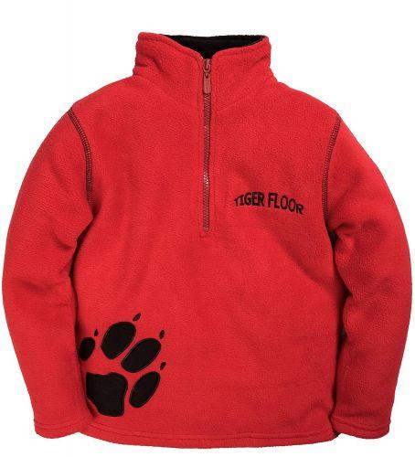 """Флисовый джемпер для мальчиков Bonito kids """"Tiger floor"""" 3-7 лет, красный"""