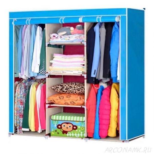 Складной каркасный тканевый шкаф Storage Wardrobe, Цвет: Голубой