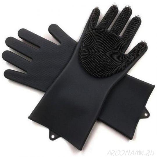 Многофункциональные силиконовые перчатки Magic Brush, 2 шт., Цвет: Чёрный