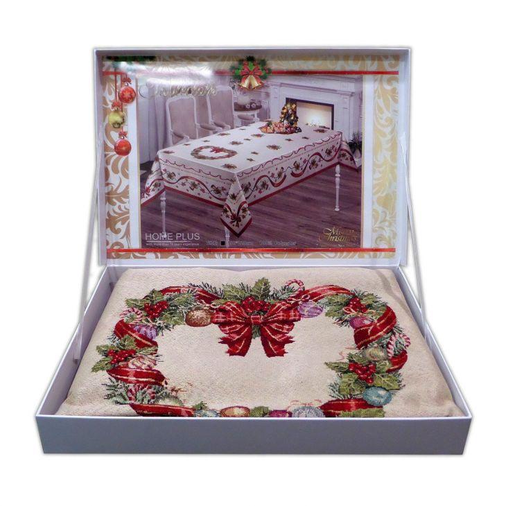 Гобеленовая новогодняя скатерть Рождественский венок 140х220