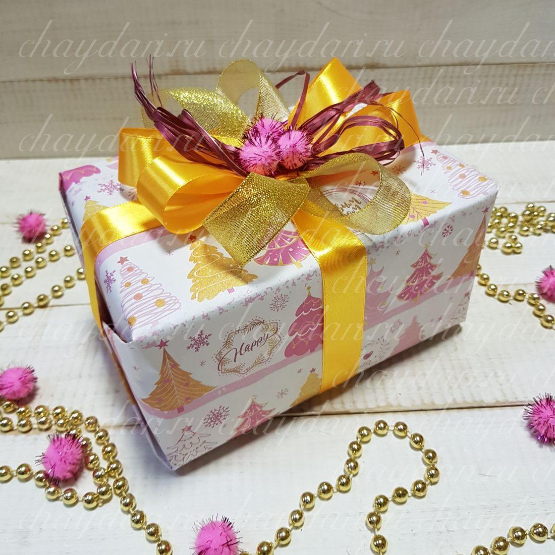 """Коробка с чаем и сладостями """"Розовый и золото"""""""