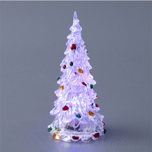 Светящаяся светодиодная ёлочка с шишками Marry Christmas 27 см.