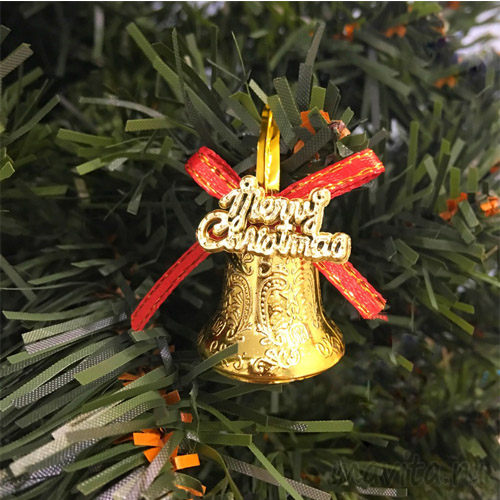 Золотые колокольчики с красным бантиком Merry Christmas, 12 шт
