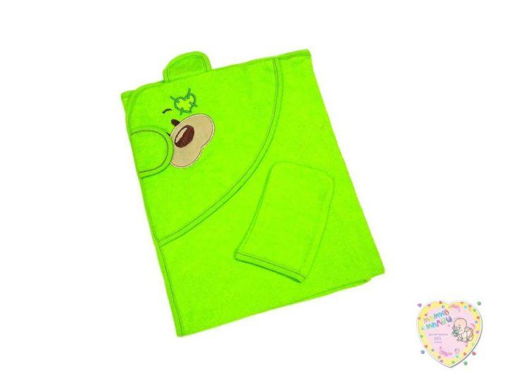 Купальное полотенце с уголком махра 2V-KM002-MA (вышивка мишка, зеленый)
