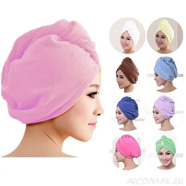 Махровое полотенце-тюрбан для сушки волос, Цвет: Светло-розовый