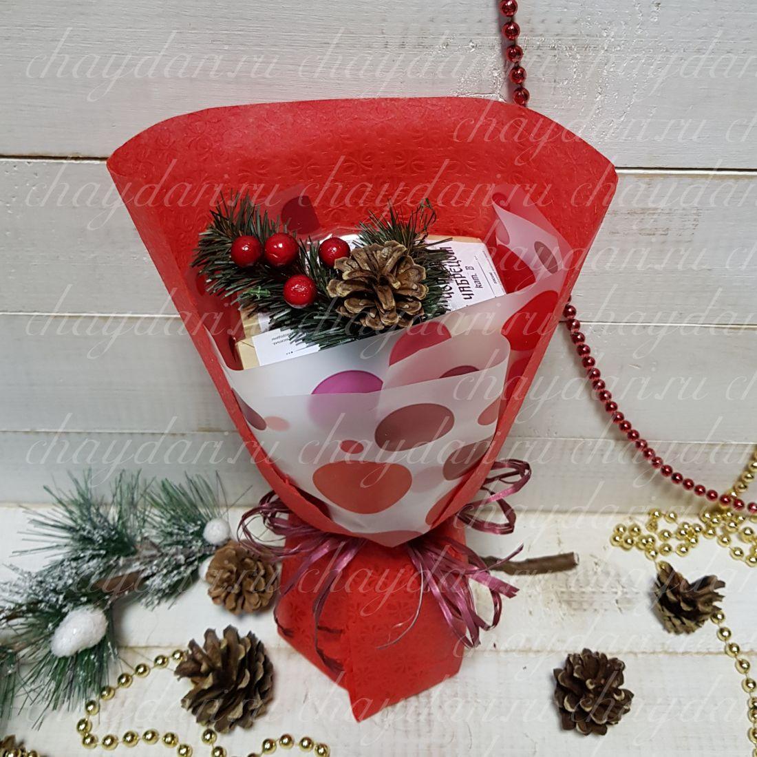 """Букет из чая """"Новогодние шары"""""""