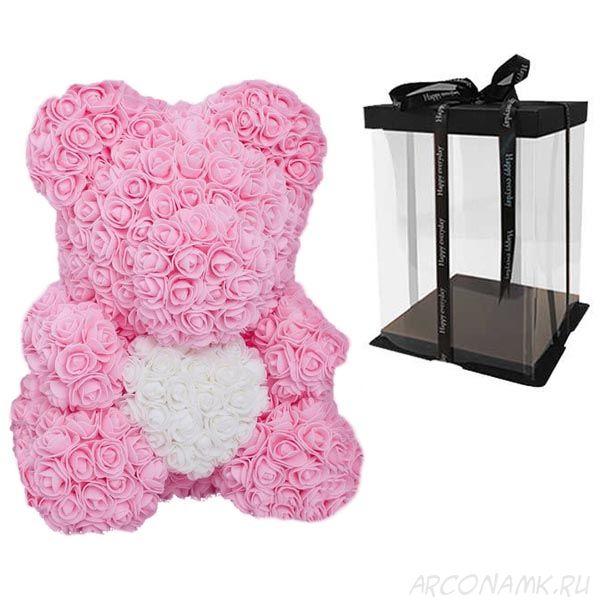 Мишка из роз с сердцем в подарочной коробке, 40 см., Светло-розовый