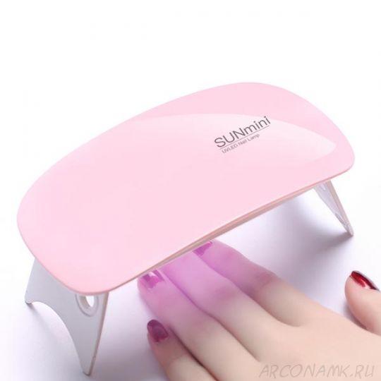 Гибридная мини-лампа для полимеризации гель-лака UV LED Sun mini, Цвет: Розовый