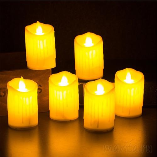 Цветной светодиодный фонарик в форме свечи, Бежевый