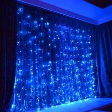 Гирлянда занавес влагостойкая 3х3 метра синий 300 ламп