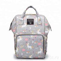 Сумка-рюкзак для мамы Mummy Bag Единороги, Цвет Серый
