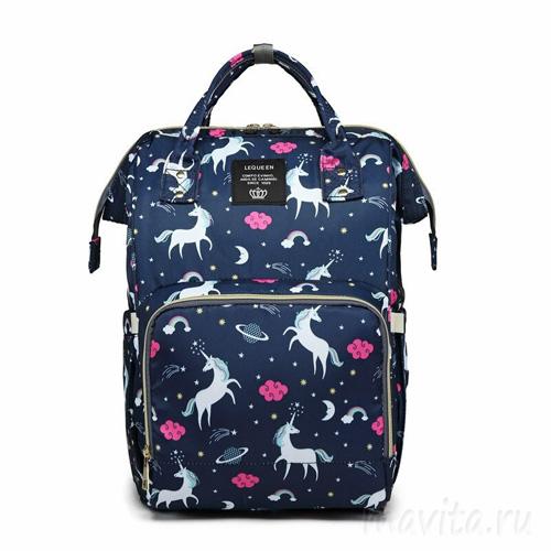 Сумка-рюкзак для мамы Mummy Bag Единороги, Цвет Синий