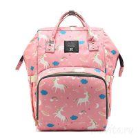 Сумка-рюкзак для мамы Mummy Bag Единороги, Цвет Розовый