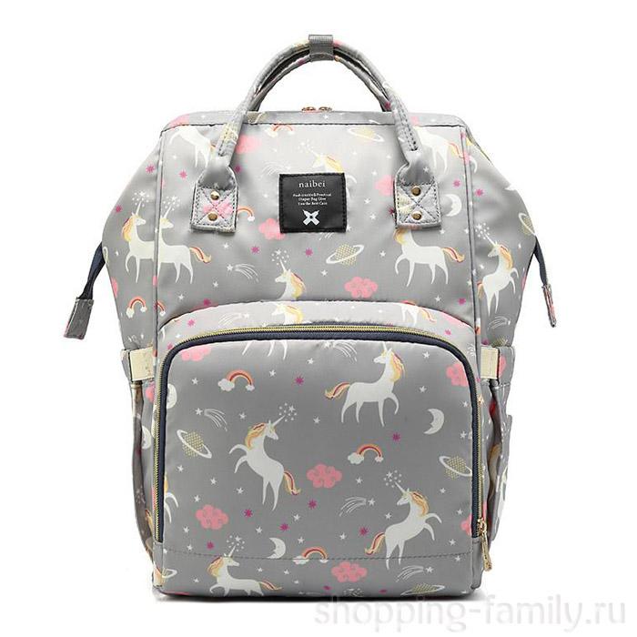 Сумка-рюкзак для мамы Mummy Bag Единорог, Цвет Серый