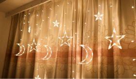 Гирлянда бахрома Звезды и Луна LED теплый белый 3,5 метра