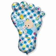 Шар (38''/97 см) Фигура, Ножка малыша, Голубой, 1 шт.