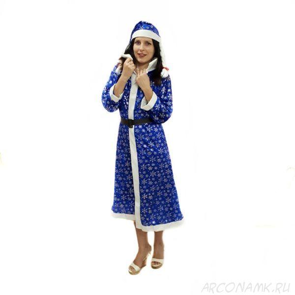 Синий костюм снегурочки со снежинками