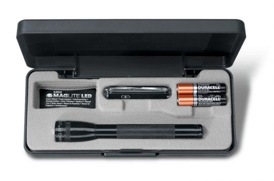 Набор Victorinox, нож-брелок 0.6223.3 и светодиодный фонарь Mini-Maglite 12,5 см, черный