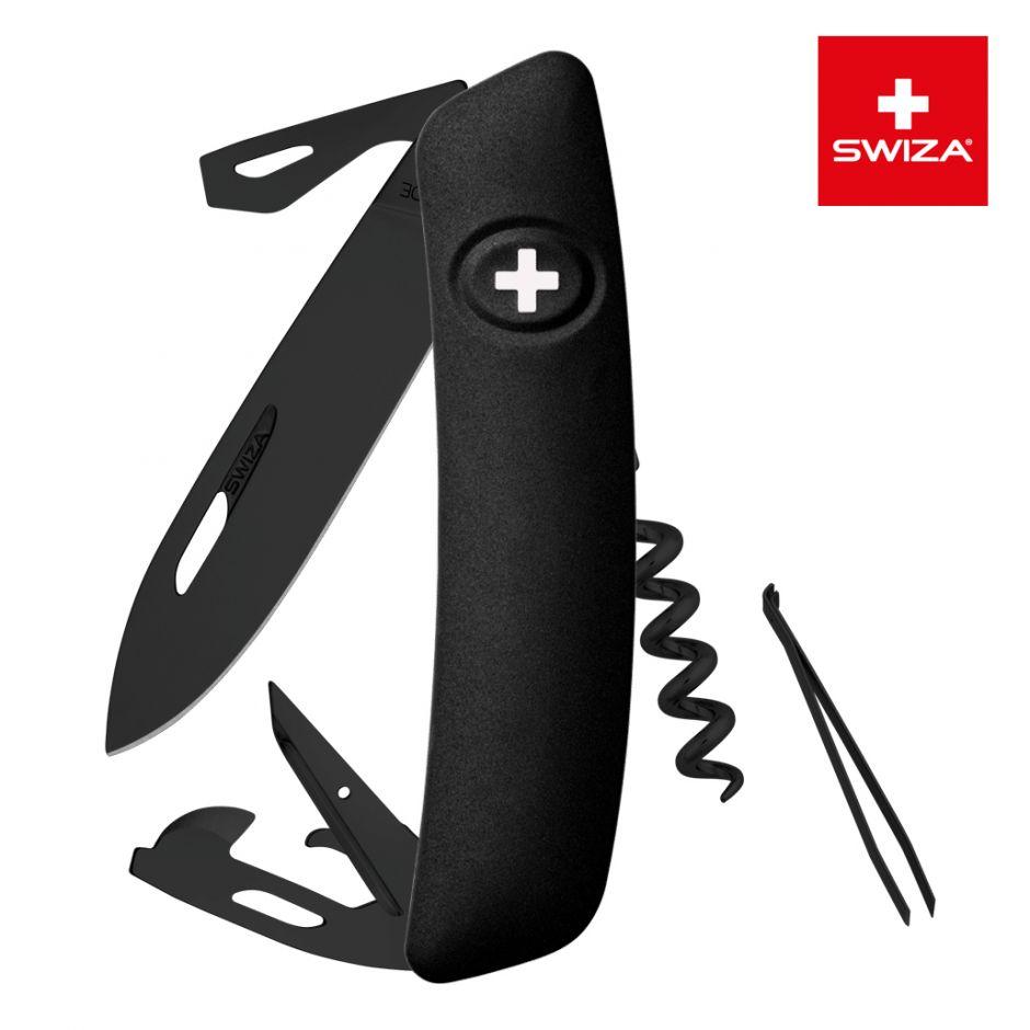 Швейцарский нож SWIZA D03 AllBlack, 95 мм, 11 функций, черный (подар. упак.)