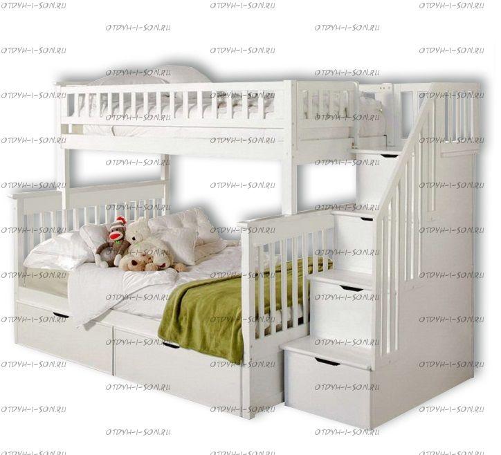 Кровать двухъярусная Лейла Стандарт с ящиками (001В2А)