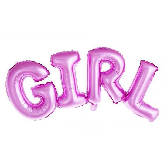 Слово GIRL розовое шар фольгированный с воздухом