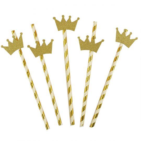 Трубочки золотые с коронами