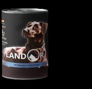 LANDOR Adult Dog Lamb and Salmon  Консерва для собак с ягненком и лососем, 400г