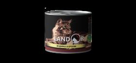 LANDOR Turkey and Rabbit for Cats Консерва для  кошек с индейкой и кроликом, 85 гр