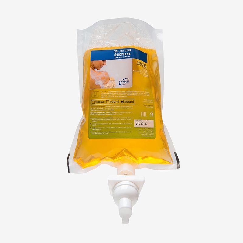 Гель для душа Флореаль 100042-S800 (гель для тела и волос в картридже) пенное дозирование, 1000 мл