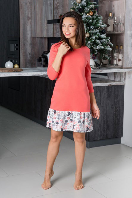 Платье домашнее арт.0753-02 коралл, интерлок
