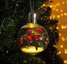 """Елочный шар игрушка светящаяся 1 LED  """"Ягоды"""""""