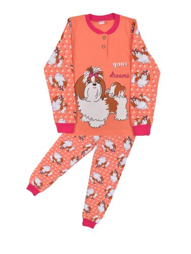 Теплая пижама для девочки 7-10 лет Bonito BN957Д коралл