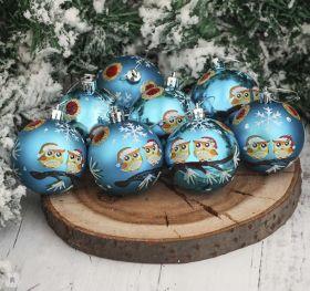 """Набор шаров пластик d-6 см, 8 шт """"Совята"""" голубой"""